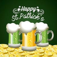 S t. banner del día de patrick con vasos de cerveza vector