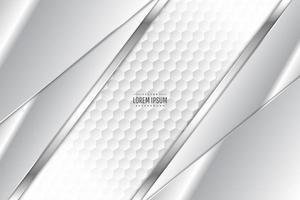 Fondo metálico gris y plateado con espacio poligonal.