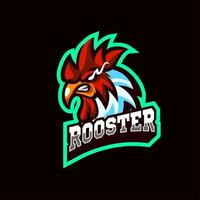 Head Rooster Mascot Logo