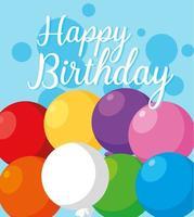 Happy birthday card with helium balloons