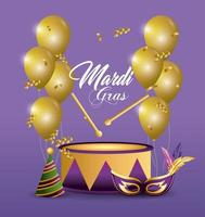 Drum and balloons for Mardi Gras celebration