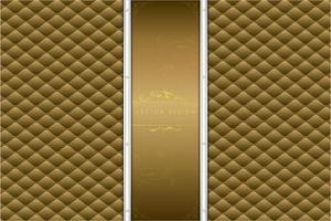 Fondo metálico dorado con tapicería de diseño moderno.