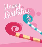 Happy birthday card with party whistles
