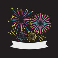 Fireworks icon set with ribbon