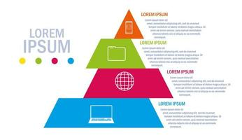 Pyramid with infographic and business icons vector