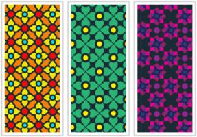 Colorful Ornate Fabric Design Set vector