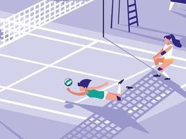 escena de la cancha deportiva de voleibol vector