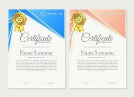 Conjunto de certificado de premio de membresía. vector