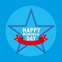 Happy memorial day card with star and ribbon