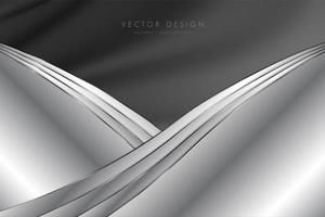 Metallic gray background with silk. Curved design. vector