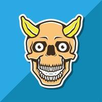 Skull head with banana horns mascot vector
