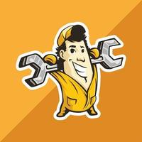 Plumber man carries a spanner in hands vector
