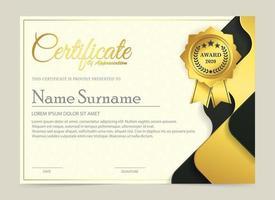 Premium golden black certificate template vector