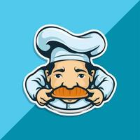 Chef character with bread as mustache vector