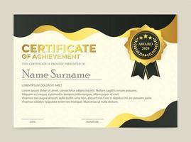 Premium golden black certificate template design