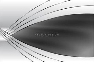 Fondo gris y plateado con diseño curvo de seda.