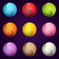 Ying yang symbol circle icon colors set