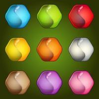 Ying yang symbol hexagon icon colors set