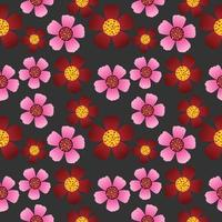 Red and pink flowers textures seamless pattern.