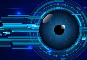 Fondo de concepto de tecnología de circuito cibernético de ojo azul