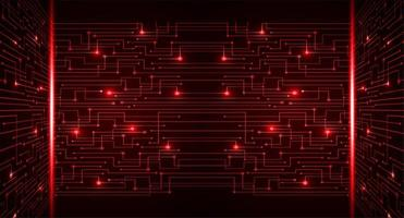 Red cyber circuit future technology concept background vector