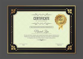 Certificate template with vintage gold border