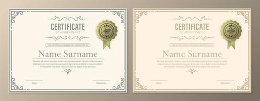Certificate diploma with currency border vector