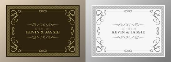 Vintage wedding frame with ornaments vector