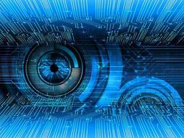 fondo del concepto futuro del circuito cibernético del ojo tecnológico