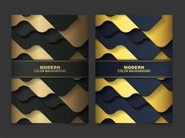 cubierta abstracta de ondas doradas y negras de lujo