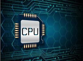 Blue CPU cyber circuit concept background vector
