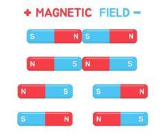 imán de ánodo y cátodo de campo magnético vector