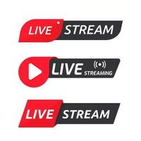 Live streaming symbol set Online broadcast icons vector