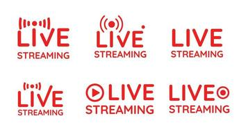 Live streaming symbol set  vector