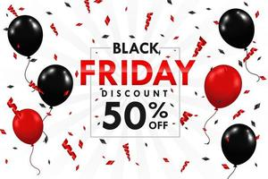 Balloons floating on the side of the text box Black Friday sale