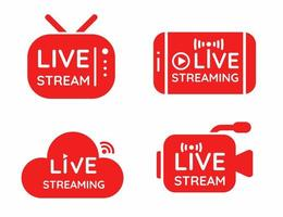 Live streaming symbol set Online broadcast icon  vector