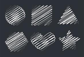 Hand drawn chalk line drawings vector