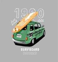 Surfboard strapped to a vintage car with lettering