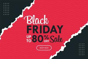 Black Friday background with modern pink and black torn paper