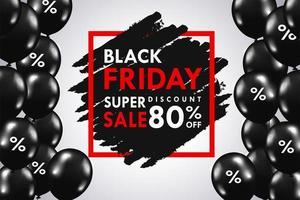 Black balloons floating on the side of the text box Black Friday