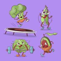 desenhos animados de vegetais trabalhando no conjunto de design vetor