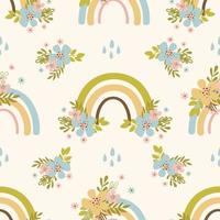 Hand-drawn Rainbow Seamless Pattern vector