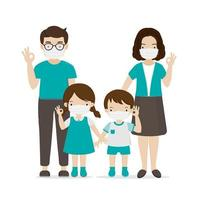 Family wearing face masks vector