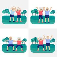 Senior couple is exercising in the park