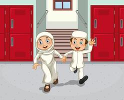 crianças do oriente médio no corredor da escola