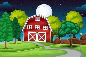 escena de la granja con granero rojo en la noche