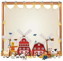 plantilla de banner temático de granja de dibujos animados vector
