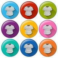 conjunto de botones de camiseta de colores vector