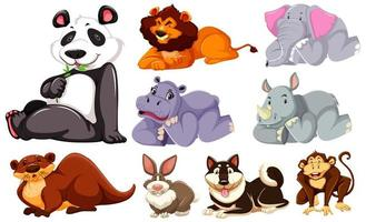 Group of cartoon animals laying down
