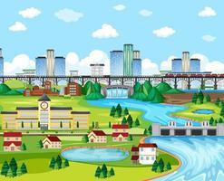 Small town landscape background scene vector